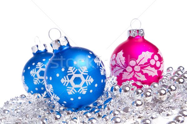 Stock photo: christmas balls with tinsel