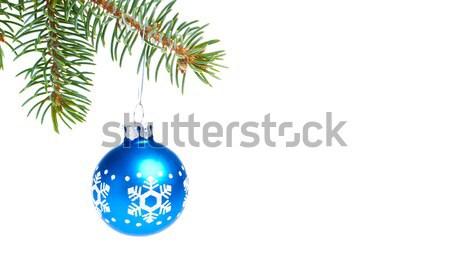 ボール 絞首刑 スプルース クリスマスツリー 青 孤立した ストックフォト © kubais