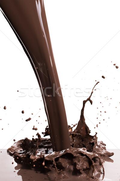 Forró csokoládé csobbanás csobbanás izolált fehér textúra Stock fotó © kubais