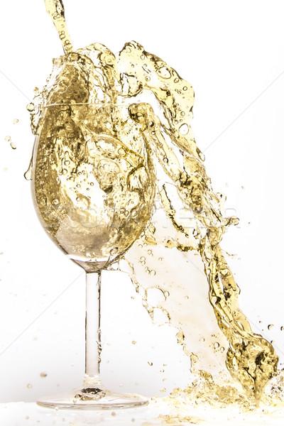 Vinho branco salpico isolado branco abstrato beber Foto stock © kubais