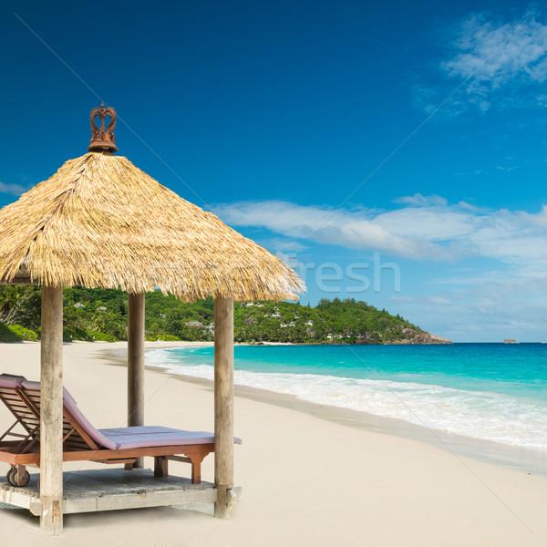 Stok fotoğraf: Plaj · çatı · turkuaz · deniz · gökyüzü · su