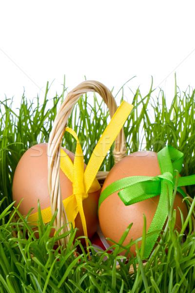 basket with easter eggs Stock photo © kubais