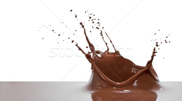 Csokoládé csobbanás közelkép izolált fehér korona Stock fotó © kubais