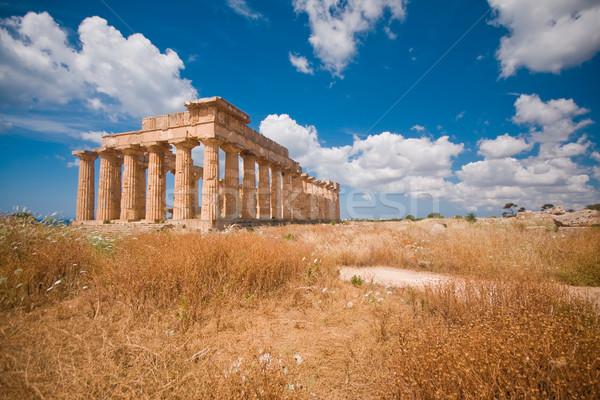 Zdjęcia stock: Grecki · świątyni · ruiny · sycylia · Włochy · niebo