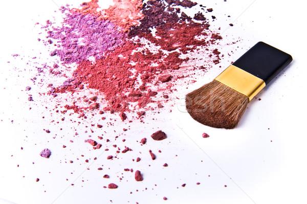Fard à paupières palette brosse blanche texture oeil Photo stock © kubais