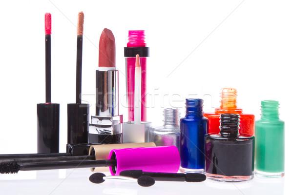 Stock fotó: Kozmetikai · smink · termékek · szett · izolált · fehér