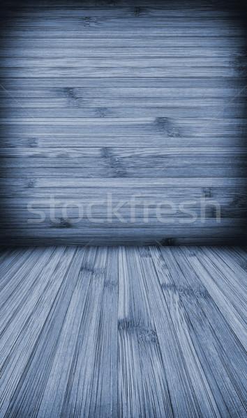 Ahşap duvar zemin yatay hatları mavi Stok fotoğraf © kuligssen