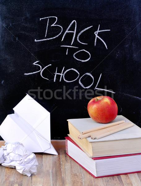 Okula geri tebeşir natürmort dünya çalışmak yazı Stok fotoğraf © kuligssen