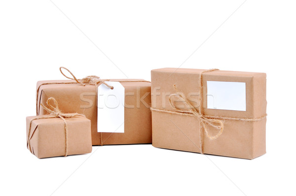 Three brown packages with blank labels Stock photo © kuligssen