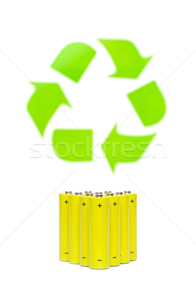 batteries with recycling symbol Stock photo © kuligssen