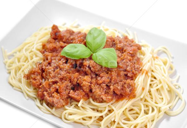 Spagetti domates sosu fesleğen yeşil kırmızı makarna Stok fotoğraf © kuligssen