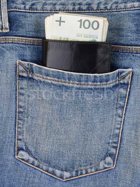Back pocket of jeans with wallet and money Stock photo © kuligssen