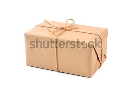 Cartão cartão papel pardo cordão entrega corda Foto stock © kuligssen
