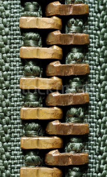 Rits macro olijfolie groene jas mode Stockfoto © kuligssen