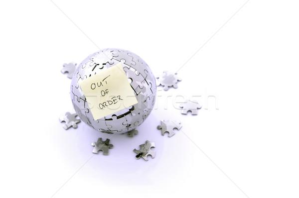 Metal quebra-cabeça planeta memorando cartão globo Foto stock © kuligssen