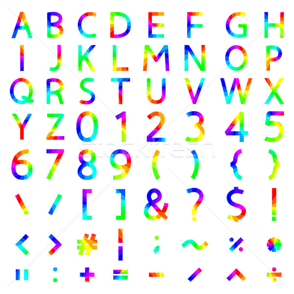 セット 虹 要素 アルファベット 番号 シンボル ストックフォト © kup1984