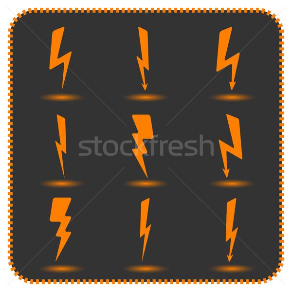 Set fulmini ombre nero luce Foto d'archivio © kup1984