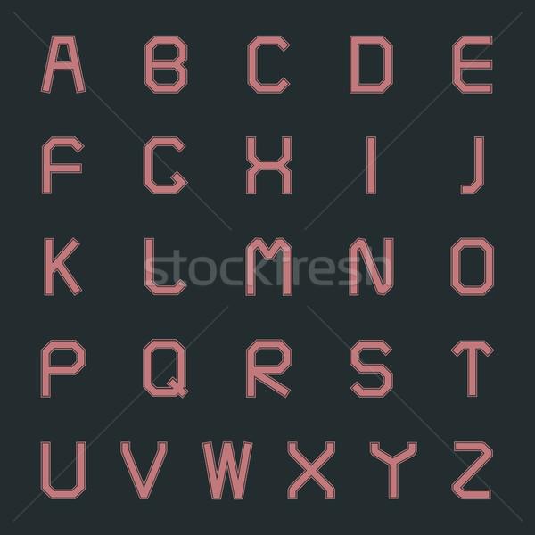 Conjunto cartas alfabeto estilo retro projeto educação Foto stock © kup1984