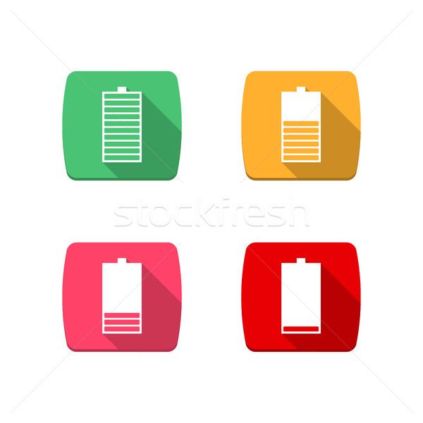 иконки батареи набор четыре квадратный уровень Сток-фото © kup1984