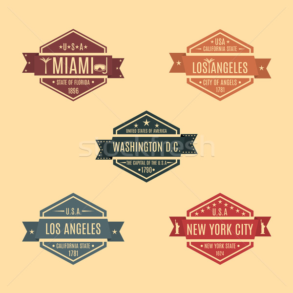 Set hexagonal emblem with the name of US cities, vector illustration. Stock photo © kup1984