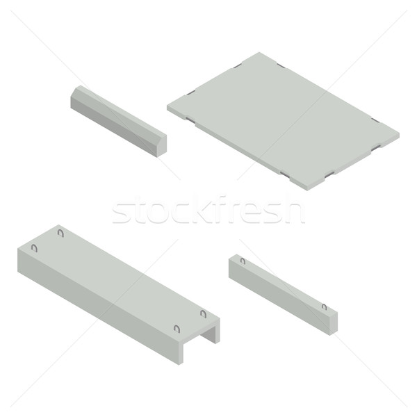 Set Eisen konkrete Produkte Ansicht Stock foto © kup1984