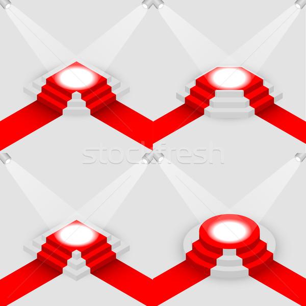набор квадратный изометрический сцена красный ковер Сток-фото © kup1984