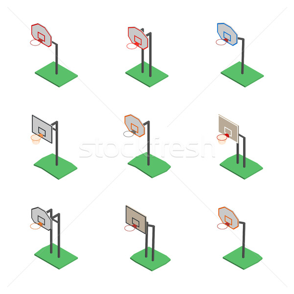 Basketball shield with basket in isometric, vector illustration. Stock photo © kup1984