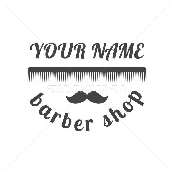 Grey emblem for barber shop, vector illustration. Stock photo © kup1984
