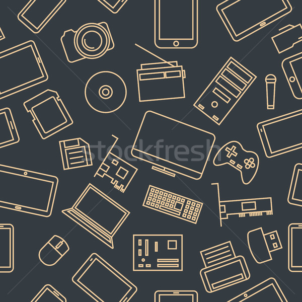 Seamless pattern from a set of computer and gadget icons, vector illustration. Stock photo © kup1984