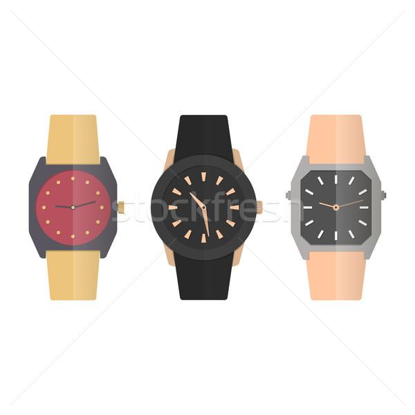 Icons wrist watches, vector illustration. Stock photo © kup1984