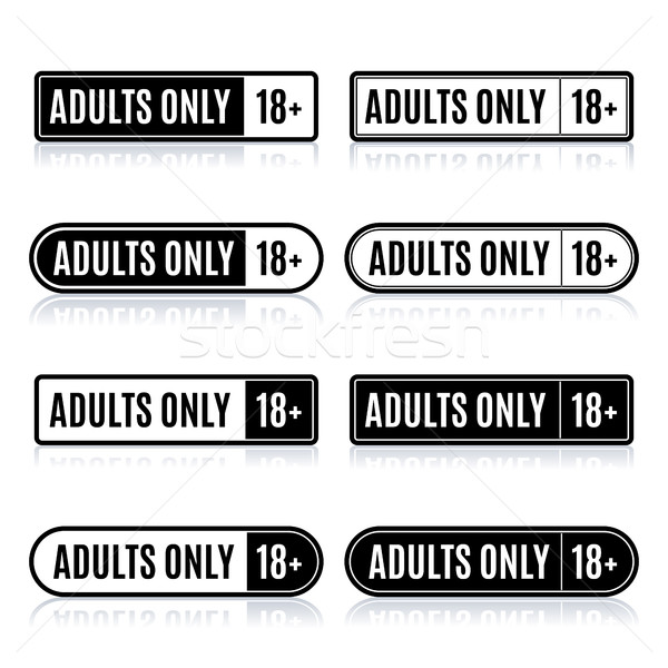 Set of stamps for adults only, vector illustration. Stock photo © kup1984