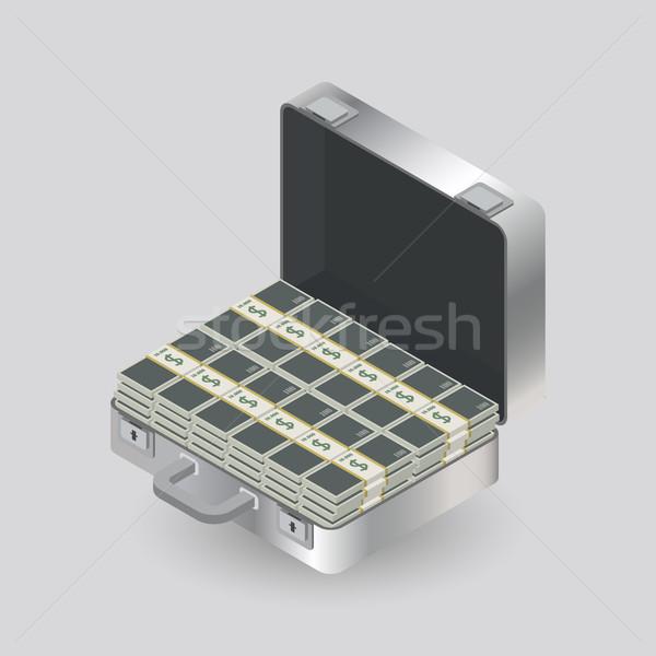 Сток-фото: случае · деньги · алюминий · изолированный · серый