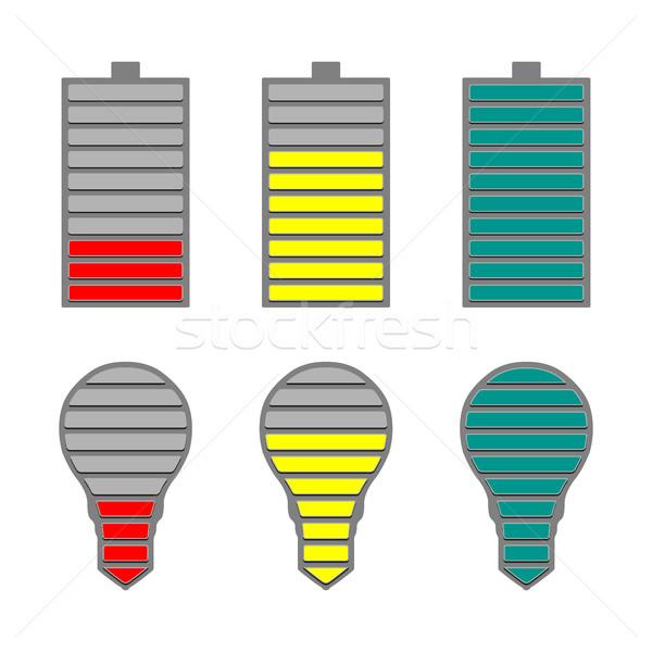 Foto stock: Conjunto · bateria · nível · indicador · iluminação · projeto