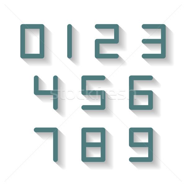 Digitális számok egy kilenc hosszú árnyék Stock fotó © kup1984