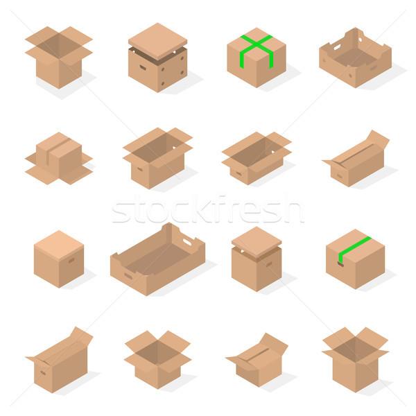 Set of cardboard boxes in 3d, vector illustration. Stock photo © kup1984
