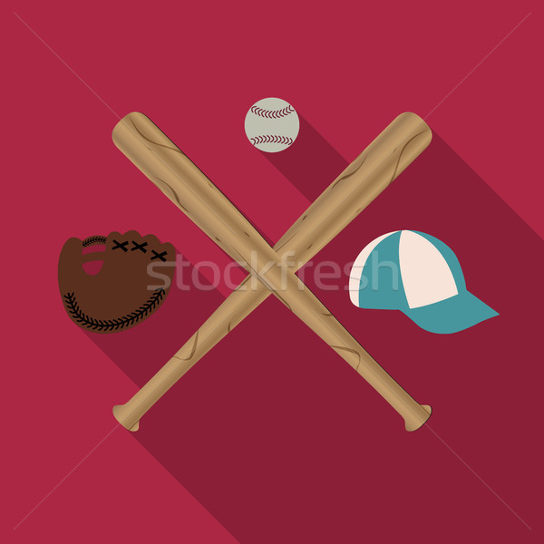 野球 アイコン 2 木製 キャップ 手袋 ストックフォト © kup1984