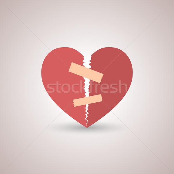 Ikon összetört szív piros papír árnyék stílus Stock fotó © kup1984