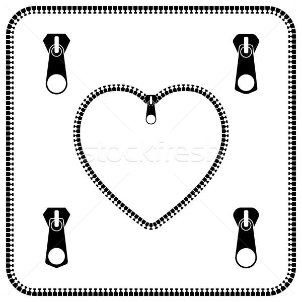 Ikon szív cipzár szürke szett különböző Stock fotó © kup1984