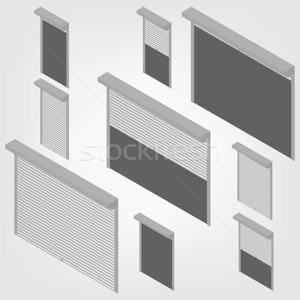 Stali bezpieczeństwa izometryczny Windows drzwi Zdjęcia stock © kup1984