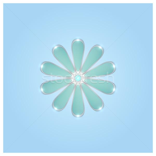 画像 青 ガラス 花 コンピュータ 壁 ストックフォト © kup1984