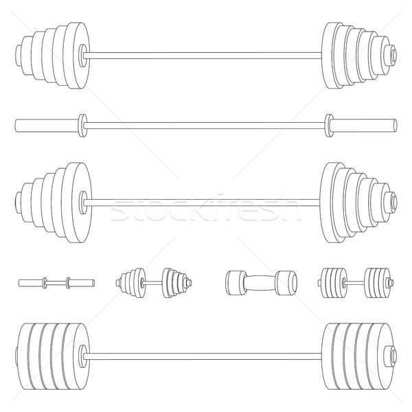 Sprzęt sportowy cienki linie zestaw ciało siłowni Zdjęcia stock © kup1984