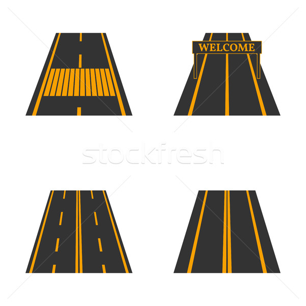 Icons of the road, vector illustration. Stock photo © kup1984