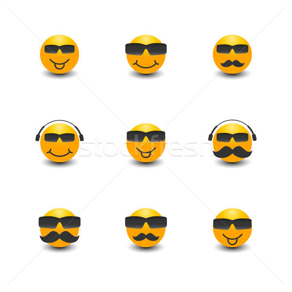 Funny face with a mustache and sunglasses, vector illustration. Stock photo © kup1984