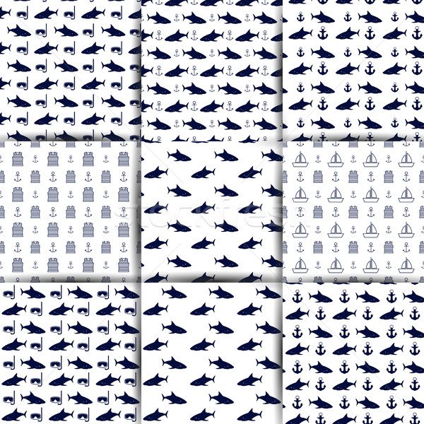 Set of nautical seamless backgrounds, vector illustration. Stock photo © kup1984
