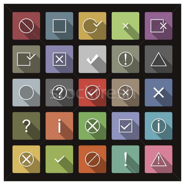 Stockfoto: Ingesteld · iconen · borden · lang · schaduw · stijl