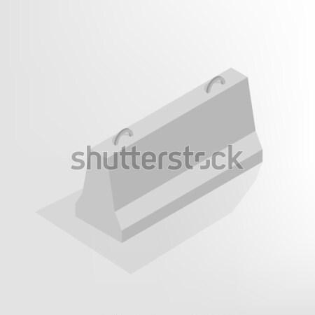 Iron concrete block isometric, vector illustration. Stock photo © kup1984