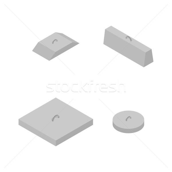 Szett vasaló beton termékek izometrikus kilátás Stock fotó © kup1984
