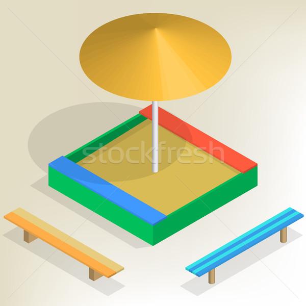 изометрический набор солнце зонтик изолированный Сток-фото © kup1984