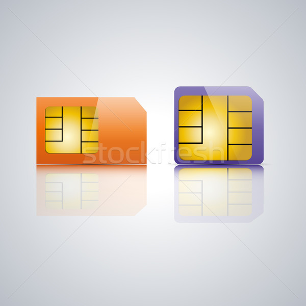 Set SIM card, vector illustration. Stock photo © kup1984