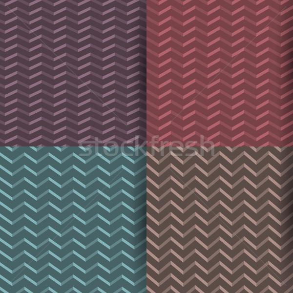 Senza soluzione di continuità zig-zag pattern set quattro colorato Foto d'archivio © kup1984